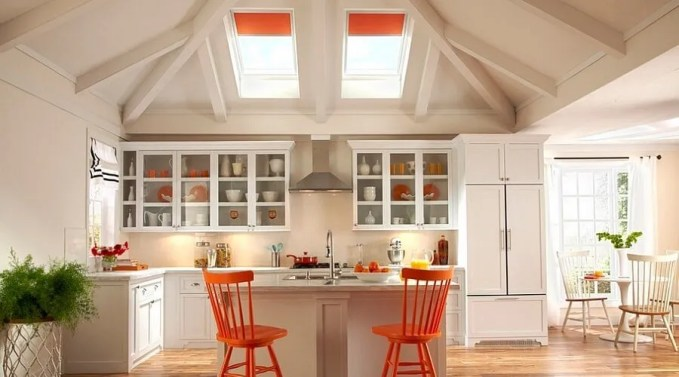 Cheery Kitchen with Skylights