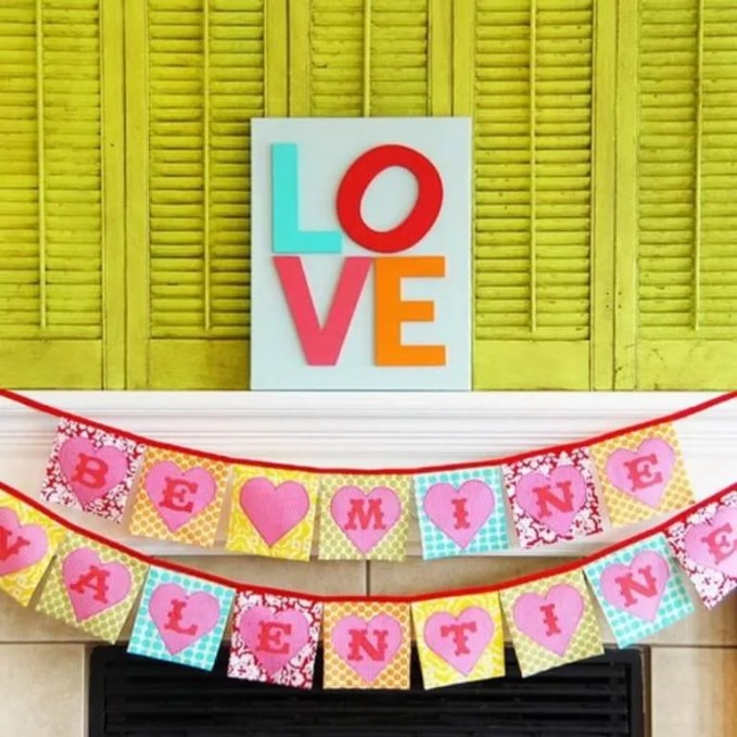 Colorful Valentine's Mantel