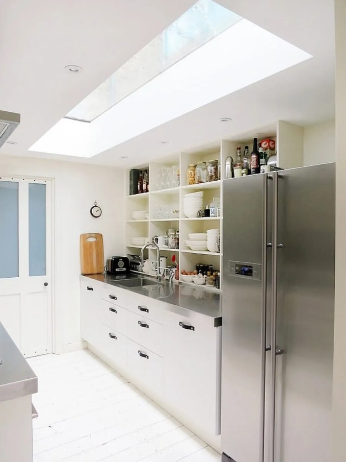Contemporary Kitchen with Rectangular Skylight