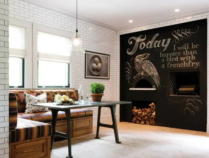 Eclectic Dinign Room with Chalkboard Wall