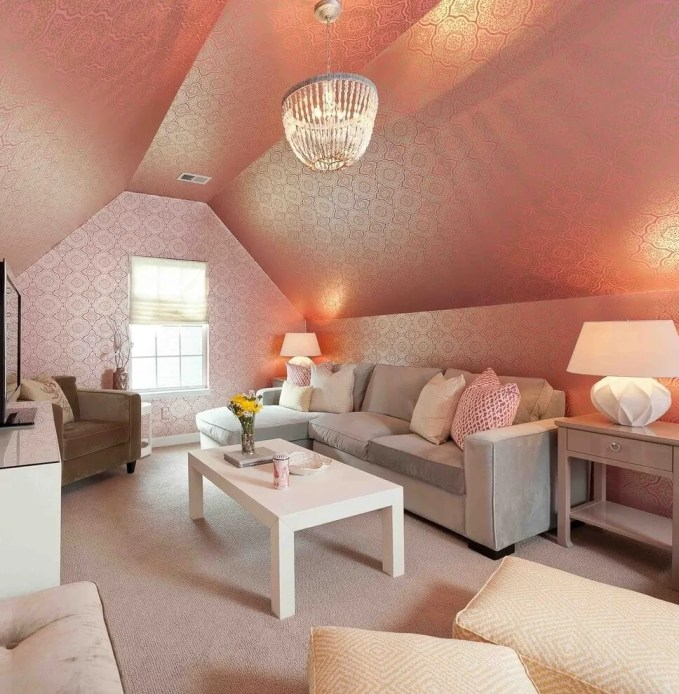 Feminine Attic Living Room