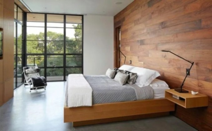 Minimalist Bedroom with Wood Paneling
