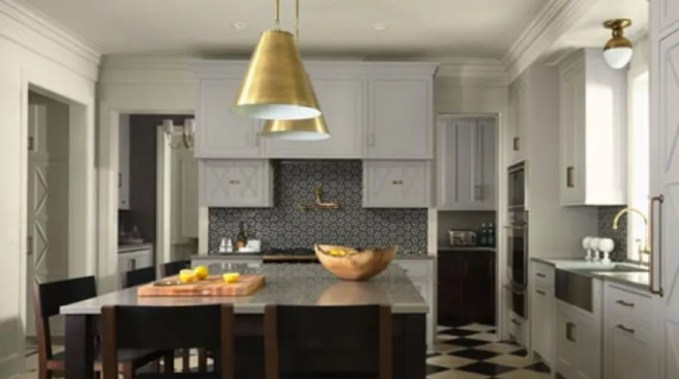 Modern Kitchen With Brass Pedants