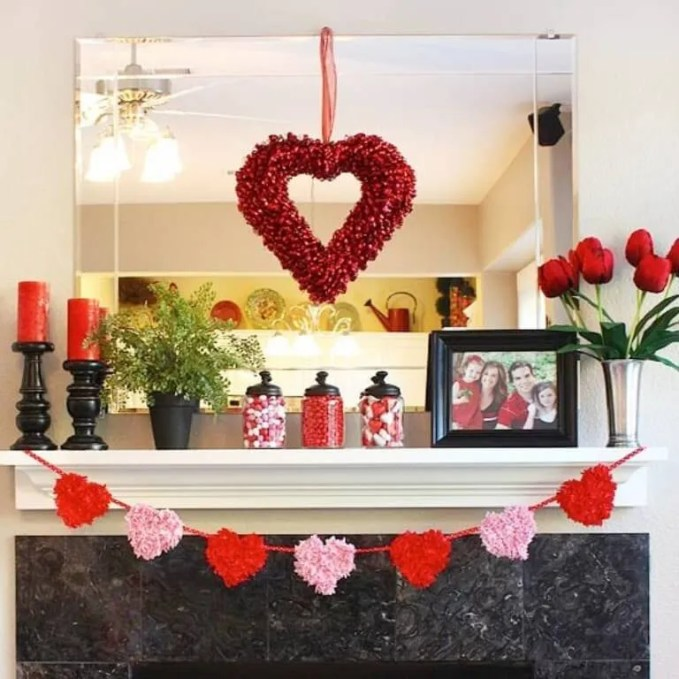Red and Pink Valentine's Mantel