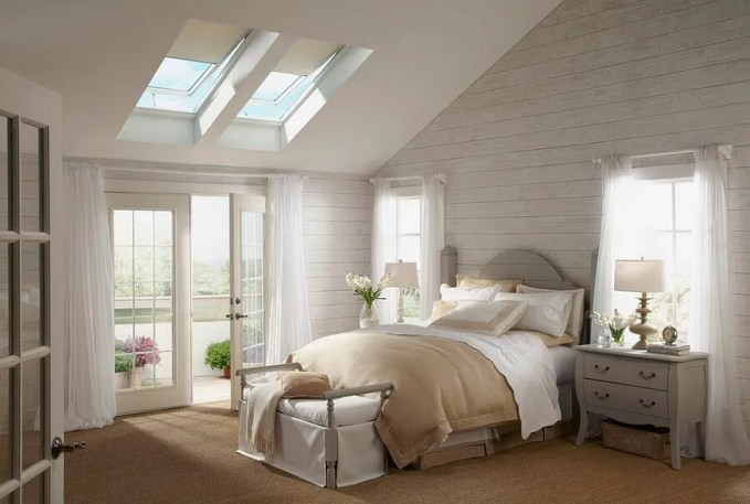 Shabby Chic Bedroom with Skylights