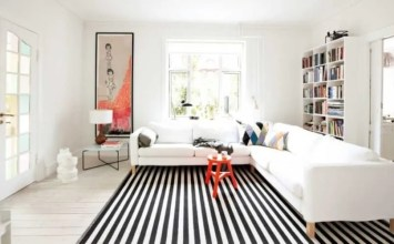 10 Impressive Living Room Designs with Striped Area Rug
