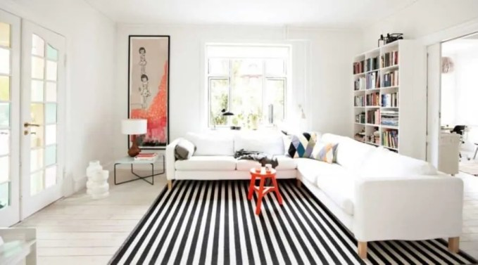 Sleek Black and White Striped Area Rug