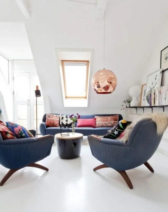 Attic Living Room with Copper Pendant