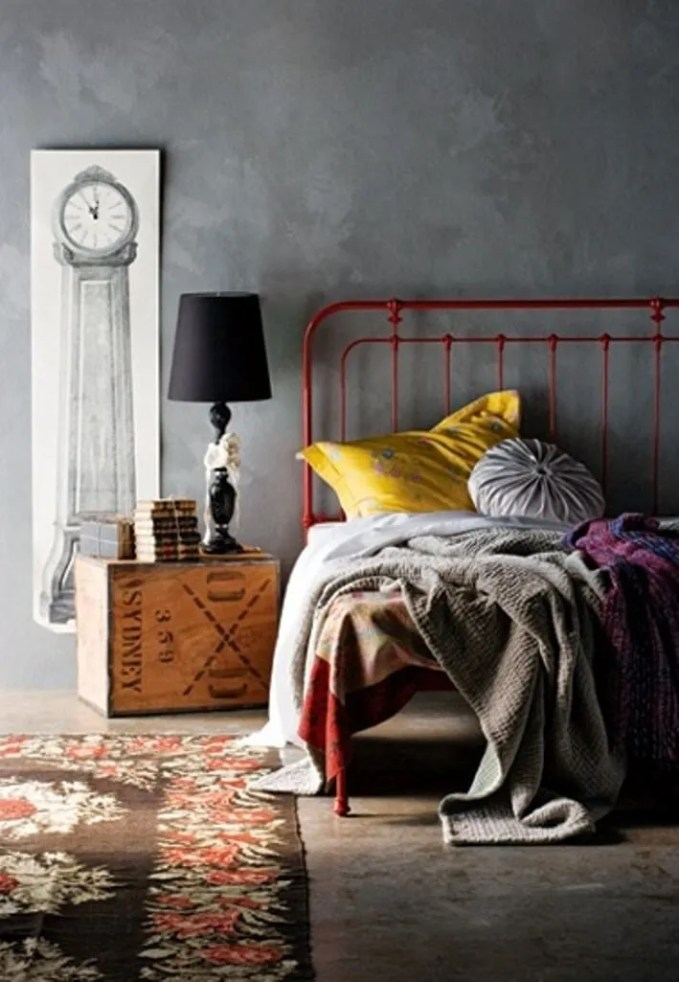 Bohemian Bedroom with Concrete Wall