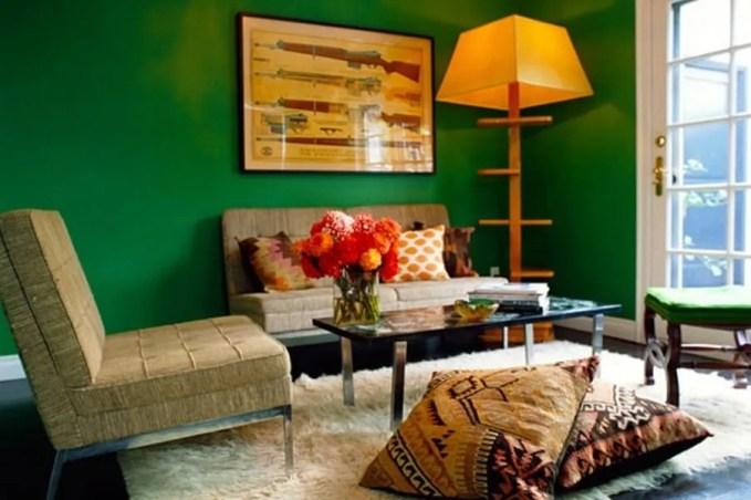 Boho Living Room with Flokati Rug