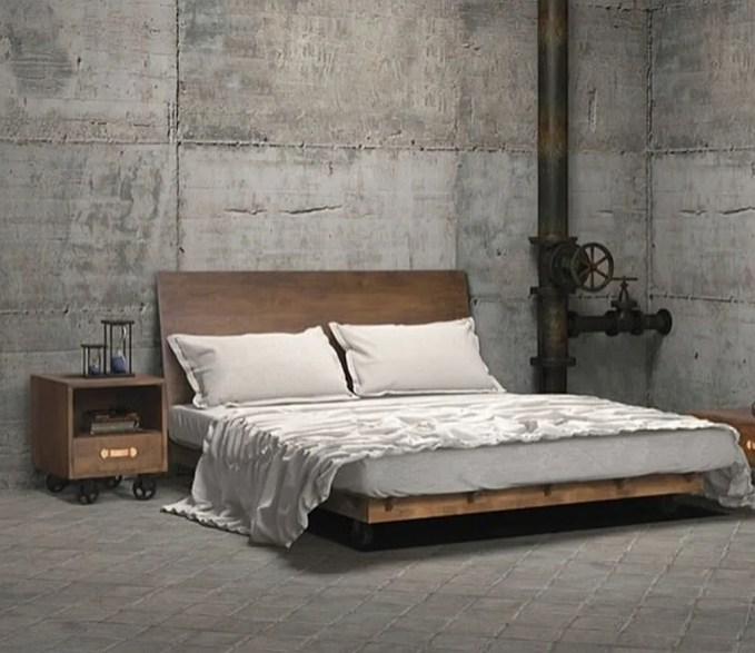 Bold Indsutrial Bedroom with Concrete Wall