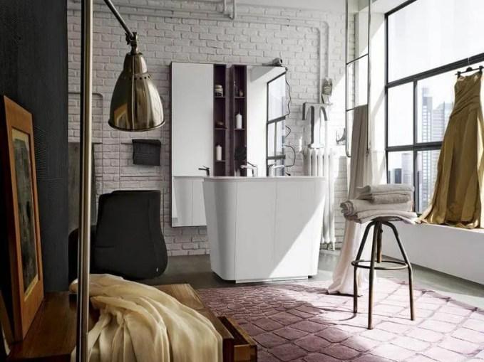 CHic Bathroom with Brick Walls