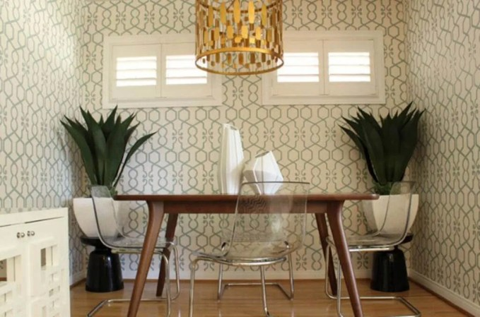 Charming Dining Room with Geometric Wallpaper