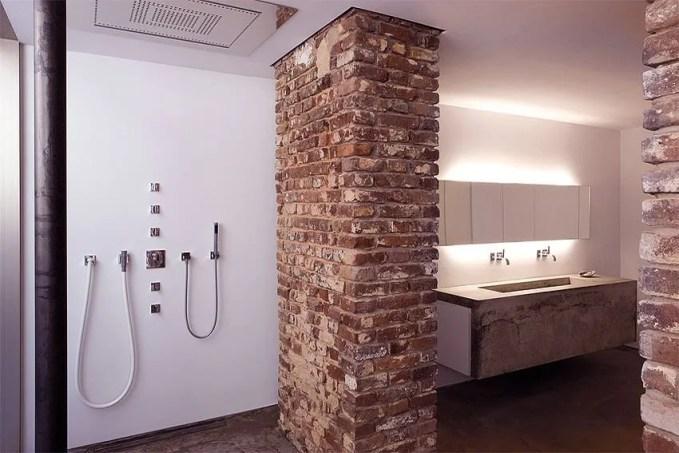 Contemporary Bathroom with Brick Walls