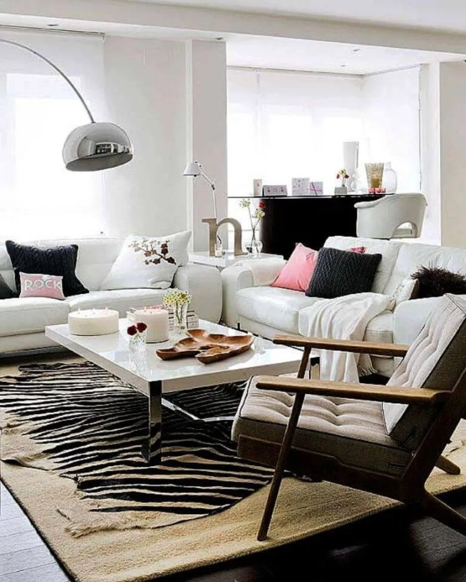 Contemporary Living Room with Zebra Rug