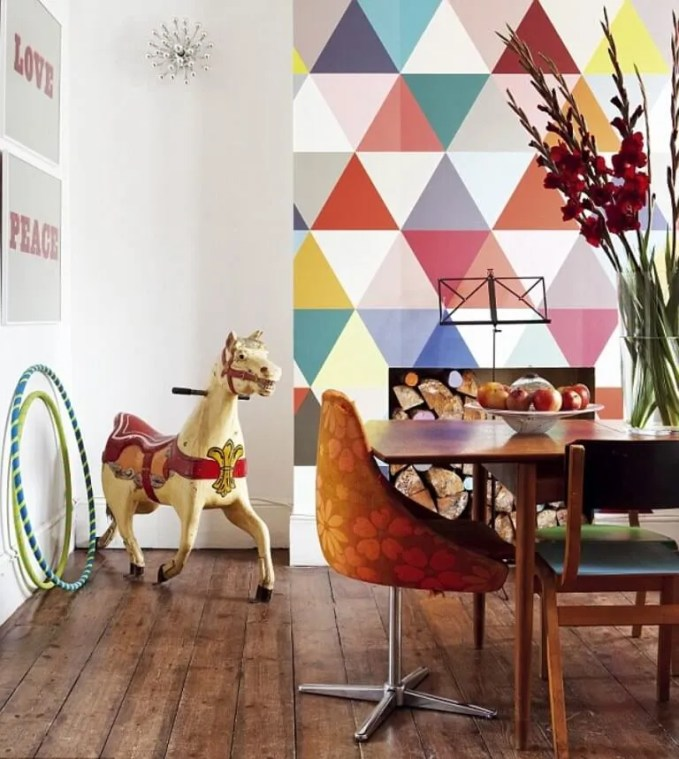 Cool Dining Room with Geometric Wallpaper