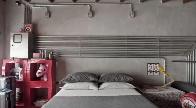 Cool Industrial Bedroom with Concrete Wall