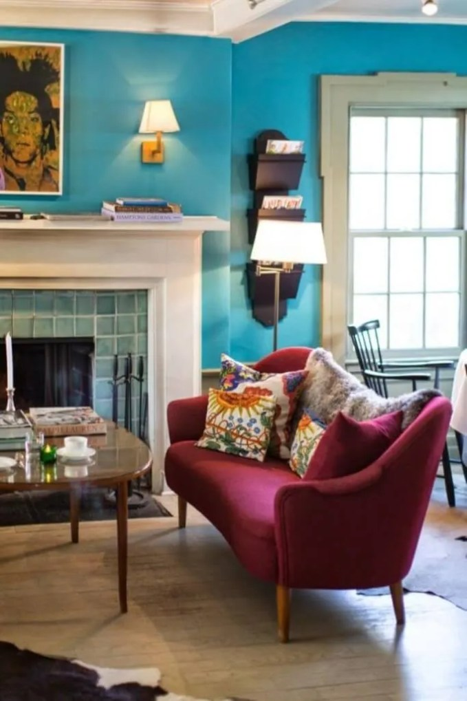 Eclectic Living Room with Marsala Accent Sofa