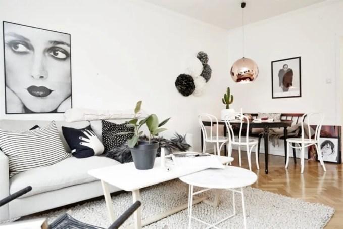Monochromatic Living Room with Copper Pendant