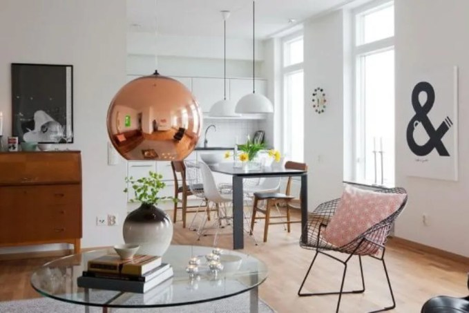 Nordic Living Room with Copper Pendant