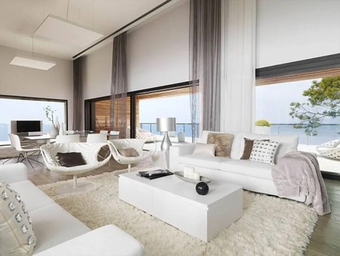 Open Plan Living Room with Flokati Rug
