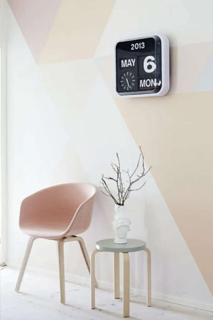 Pastel Geometric Color Block Wall