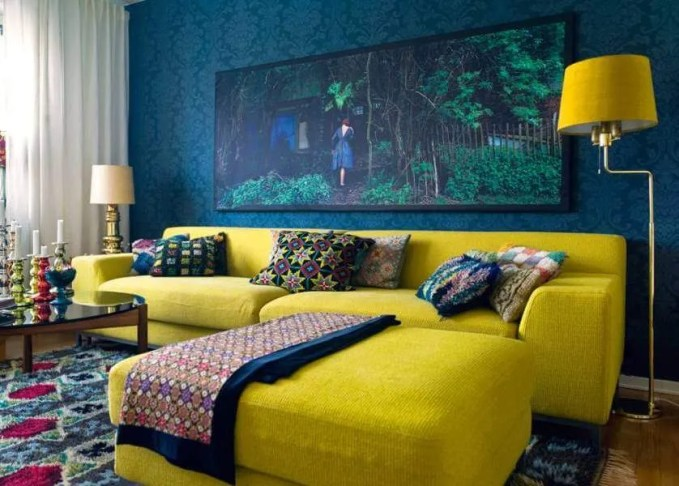 Textured Yellow Sofa