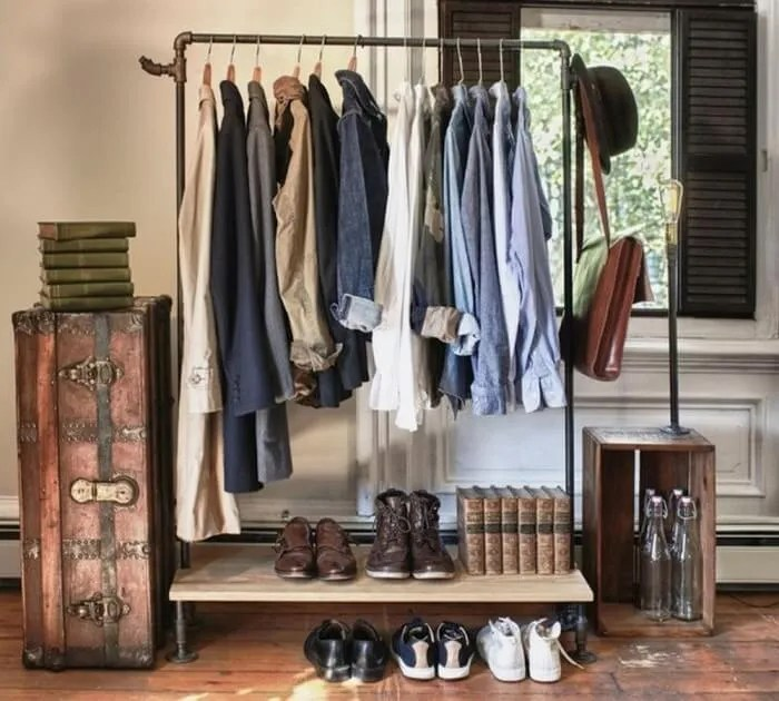 Bedroom clothes rack 700x63011 Stylish Bedroom Clothes Rack Desings   https interioridea net . Garment Rack For Bedroom. Home Design Ideas