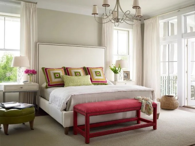 Astonishing-Ottoman-Coffee-Table-decorating-ideas-for-Cute-Bedroom-Beach-design-ideas-with-chandelier-coral-bench-Doors-open-to-Porch-french-door-gray-walls-green