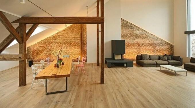 Attic Dinign Room with Brick Walls