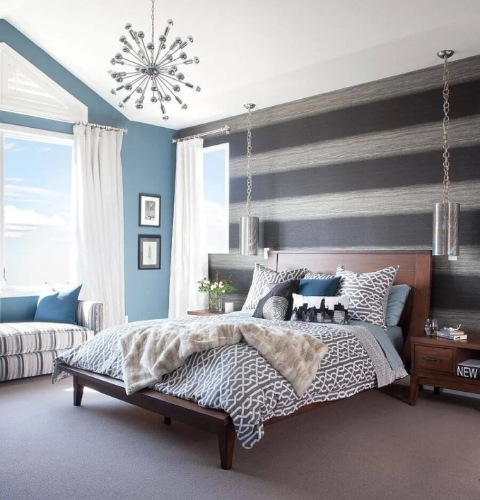 Bold Bedroom with grey Striped Walls