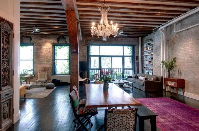 Eclectic Chic Dining Room with Brick Walls