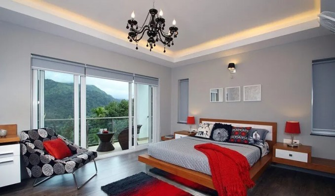 Fashionable Gray and Red Bedroom