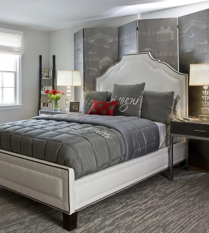 Feminine Gray and Red Bedroom