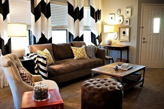 Homey Living Room with Chevron Curtain