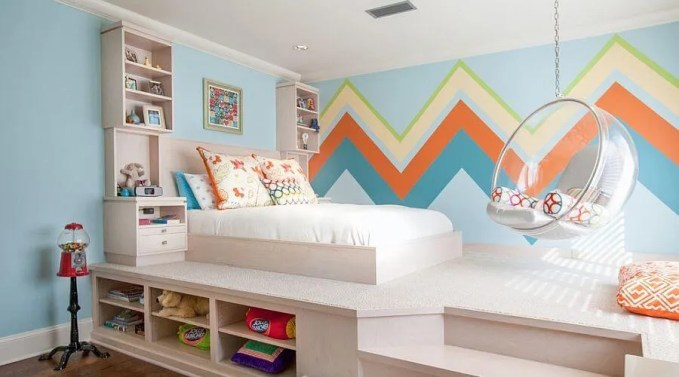 Lively Chevron Accent Wall