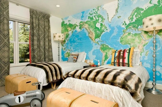 Map Wallpaper Accent Wall