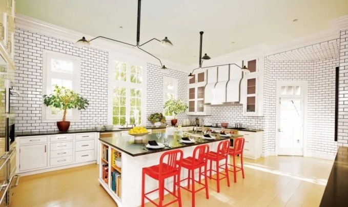 Modern White Kitchen With Pops of red