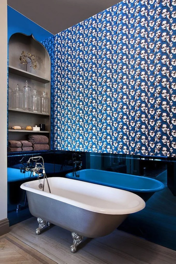 Quirky Blue Eclectic Bathroom
