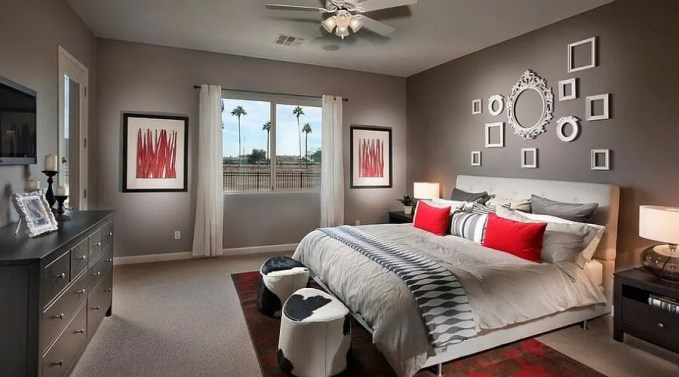 Refined Gray and Red Bedroom