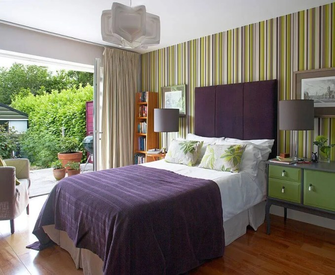 Refreshing Bedroom with Vertical Stripes