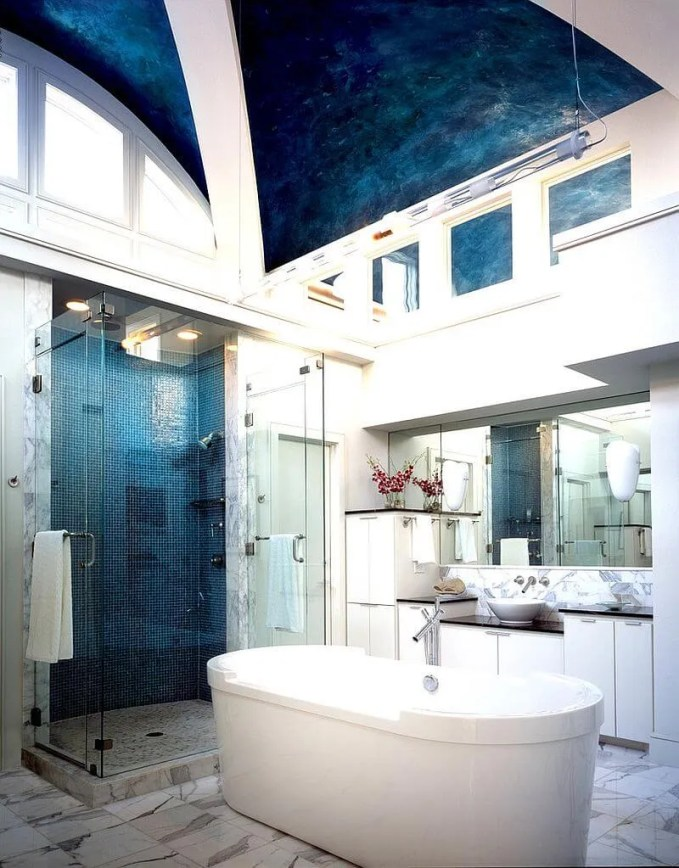Tall Blue Eclectic Bathroom