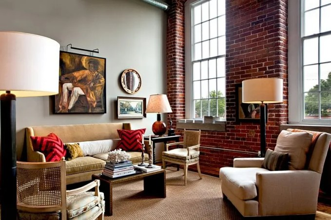 Tall Living Room with Red Chevron Pillows