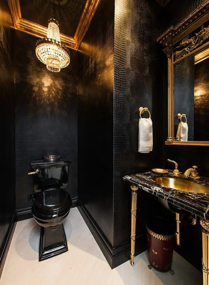Classy Gold and Black bathroom