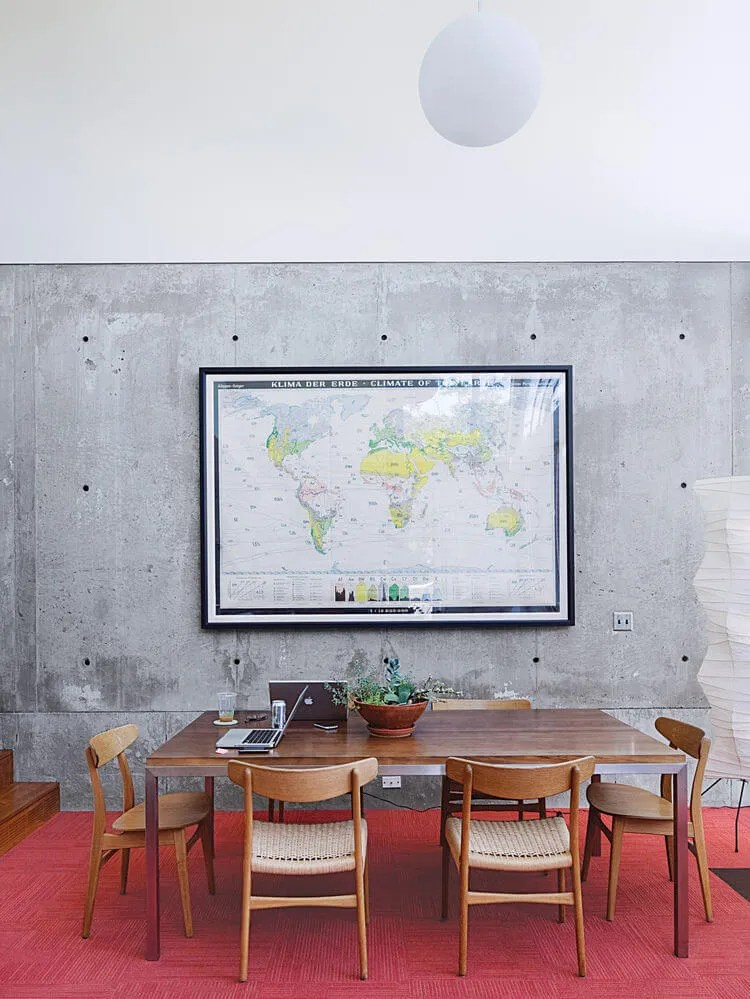 Cool Dining Room With Concrete Statement Wall