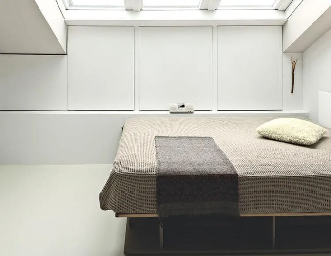 Neat Bedroom with Skylight Ceiling