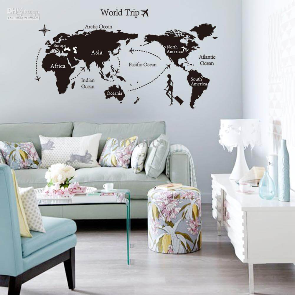10 modern wall decal ideas for the living room https for Black and white world map wall mural