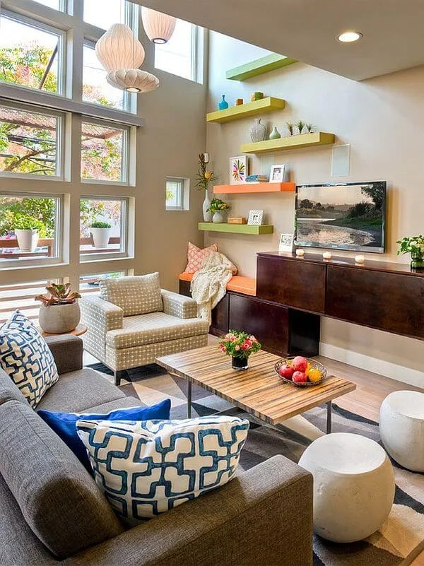 Bold Pastel FLoating Shelves for the living room