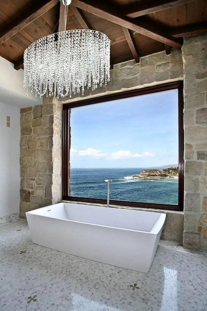 Mediterranean-style-bathroom saprkly chandelier