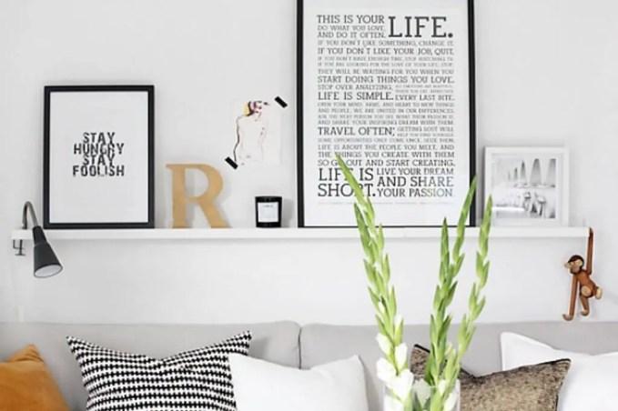 White Floating Shelves for the Living Room